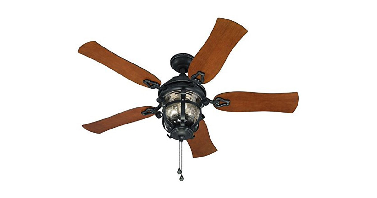 Harbor Breeze CPK1261 Lake Placido 52inches Aged Iron Outdoor Downrod or Flush Mount Ceiling Fan image