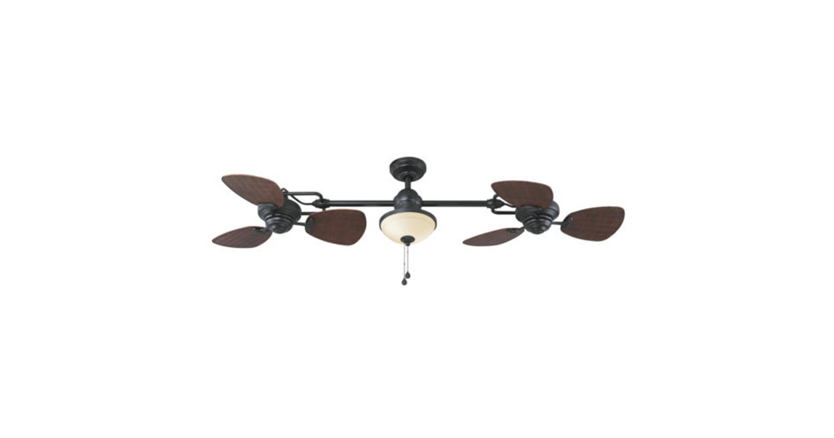Harbor Breeze L0982 Twin Breeze-Ii 74-inches Oil rubbed Bronze Outdoor Downrod Ceiling Fan image