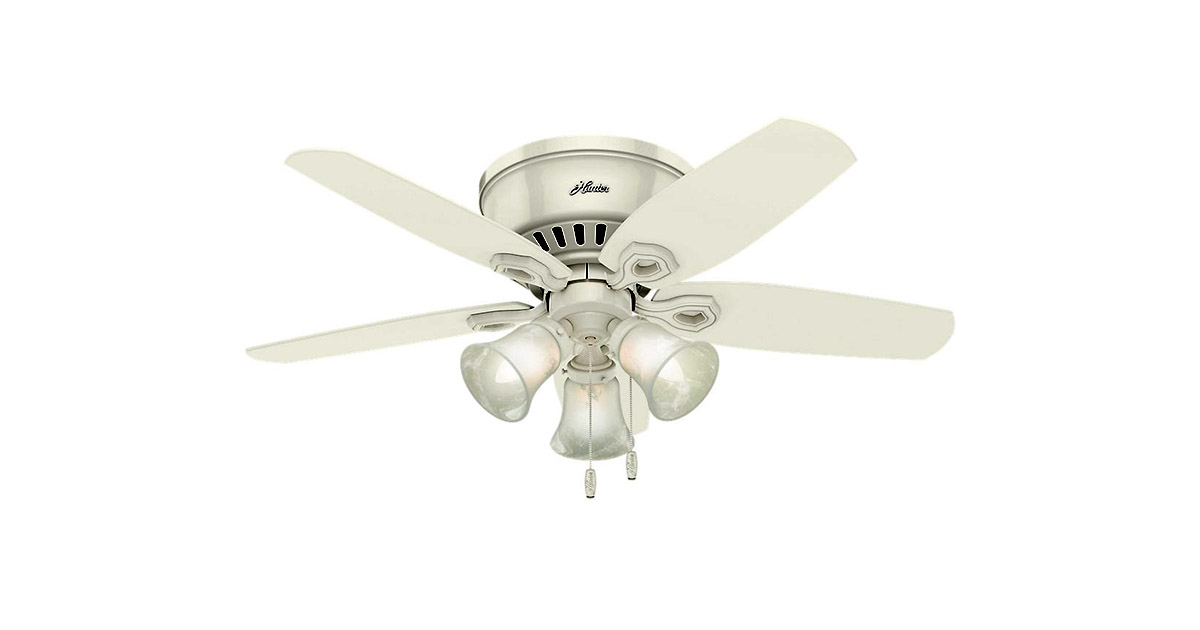 Hunter 51090 Builder 42 inch White Indoor Low Profile Ceiling Fan image
