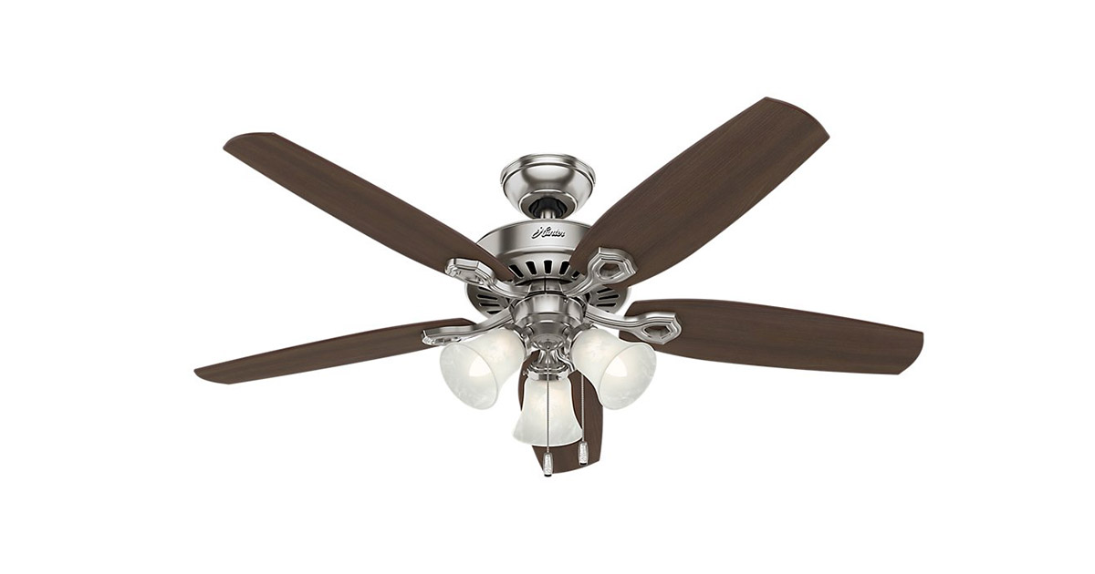 Hunter 53237 Builder Plus 52 inch Brushed Nickel Indoor Ceiling Fan image