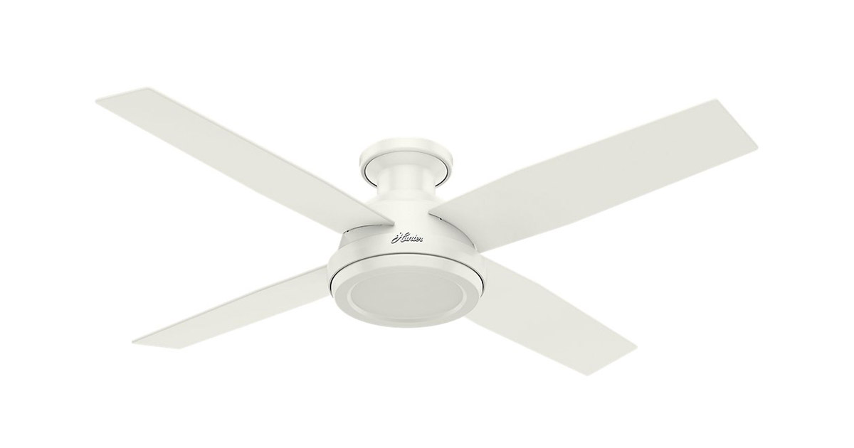 Hunter 59248 Indoor Low Profile Dempsey 52 inch White Ceiling Fan image