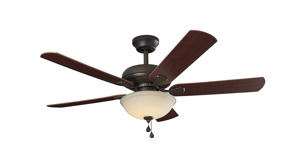 Brightwatts Energy Efficient 52 Inch LED Nutmeg Espresso Blades and White Glass Light Bowl Ceiling Fan image