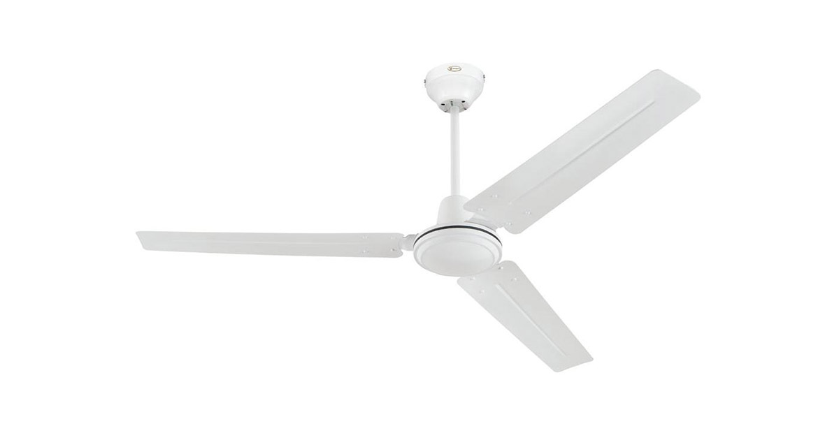 Ciata Lighting Industrial 56-Inch Three Blade Indoor White Ceiling Fan image