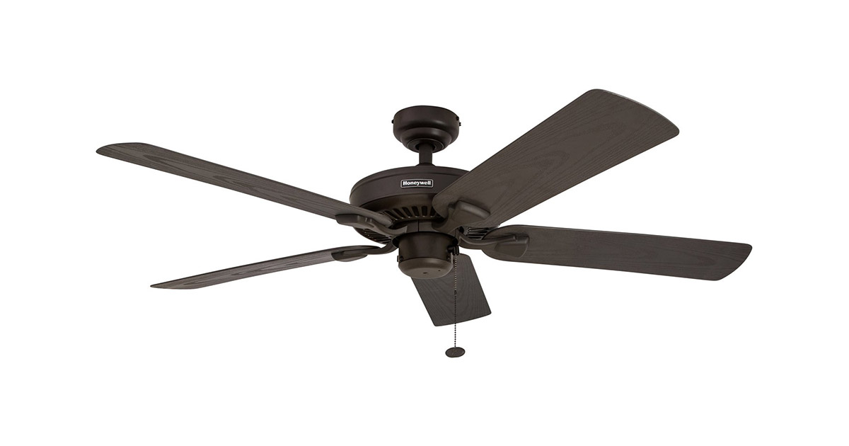 Honeywell 50199 Belmar 52-Inch Five Damp Rated Fan Blades Bronze Indoor Outdoor Ceiling Fan image