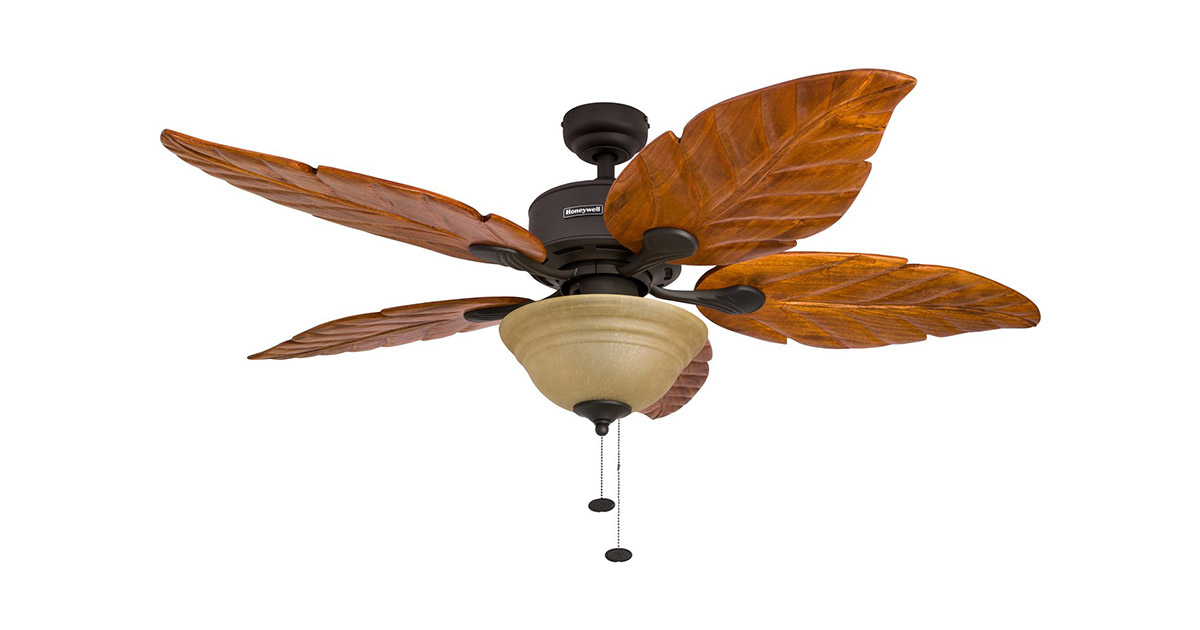 Honeywell 50204 Sabal Palm 52-Inch Tropical Five Hand Carved Wooden Leaf Blades Bronze Ceiling Fan image