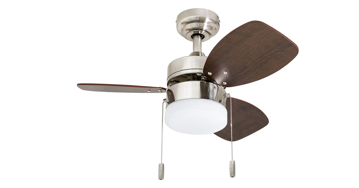 Honeywell 5060101 Ocean Breeze Contemporary 30-inches LED Frosted Light Oak Satin Nickel Finish Blades Brushed Ceiling Fan image