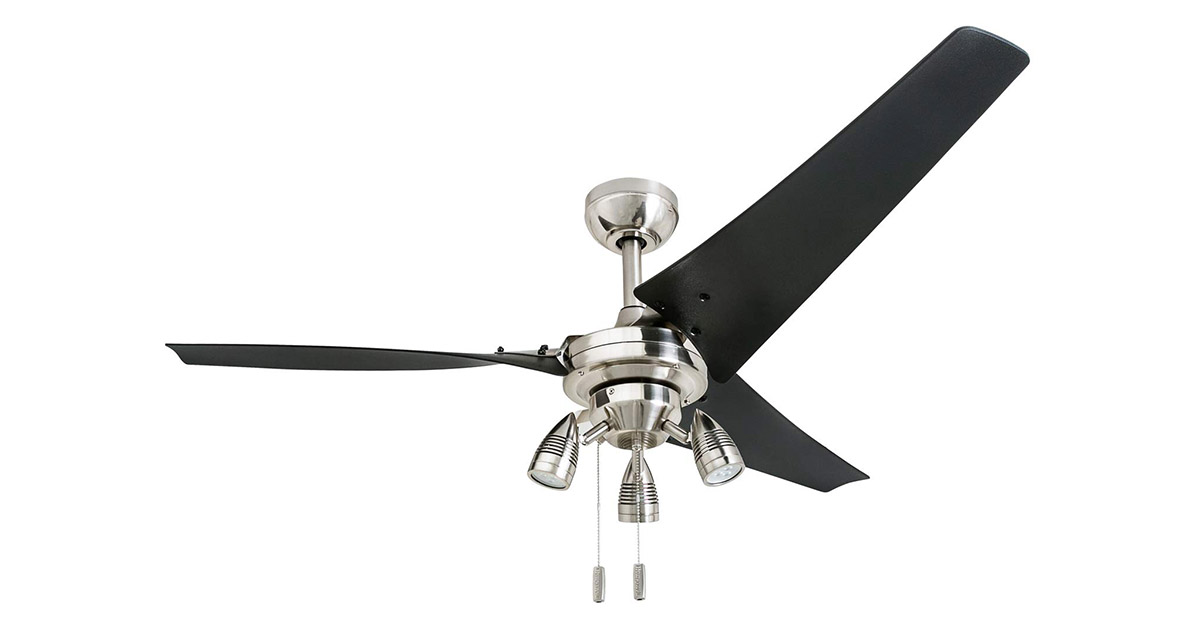 Honeywell 50611 LED 56inches Industrial Phelix High Power 3 Black ABS Blades Brushed Nickel Ceiling Fan image