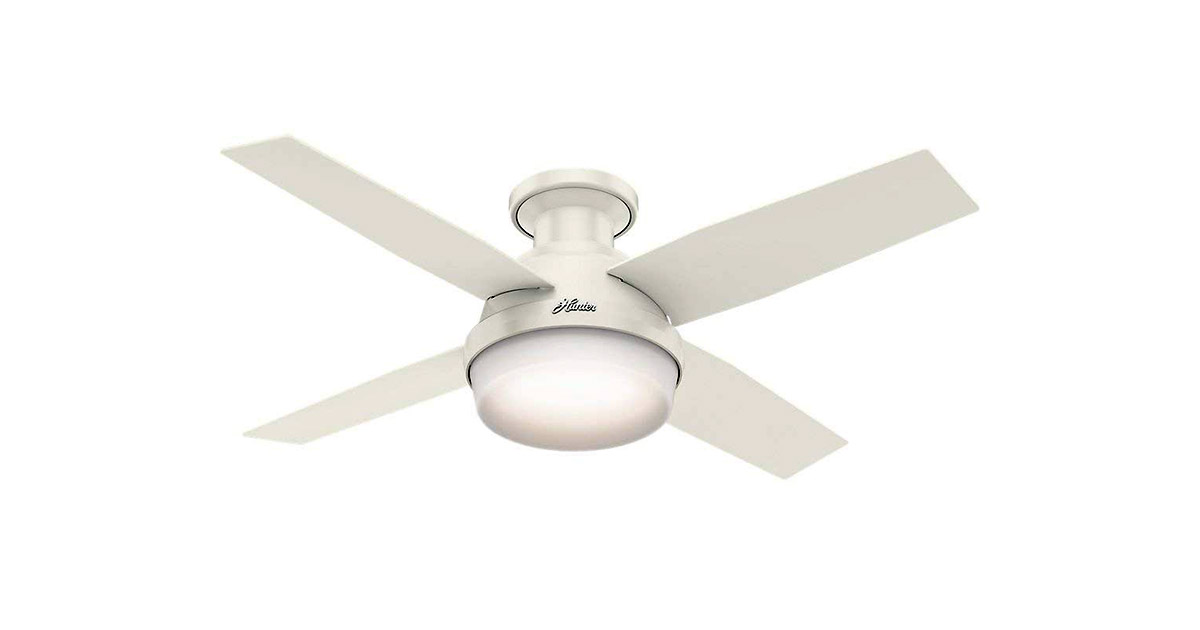 Hunter 59244 Indoor Low Profile Dempsey 44 inch White Ceiling Fan image