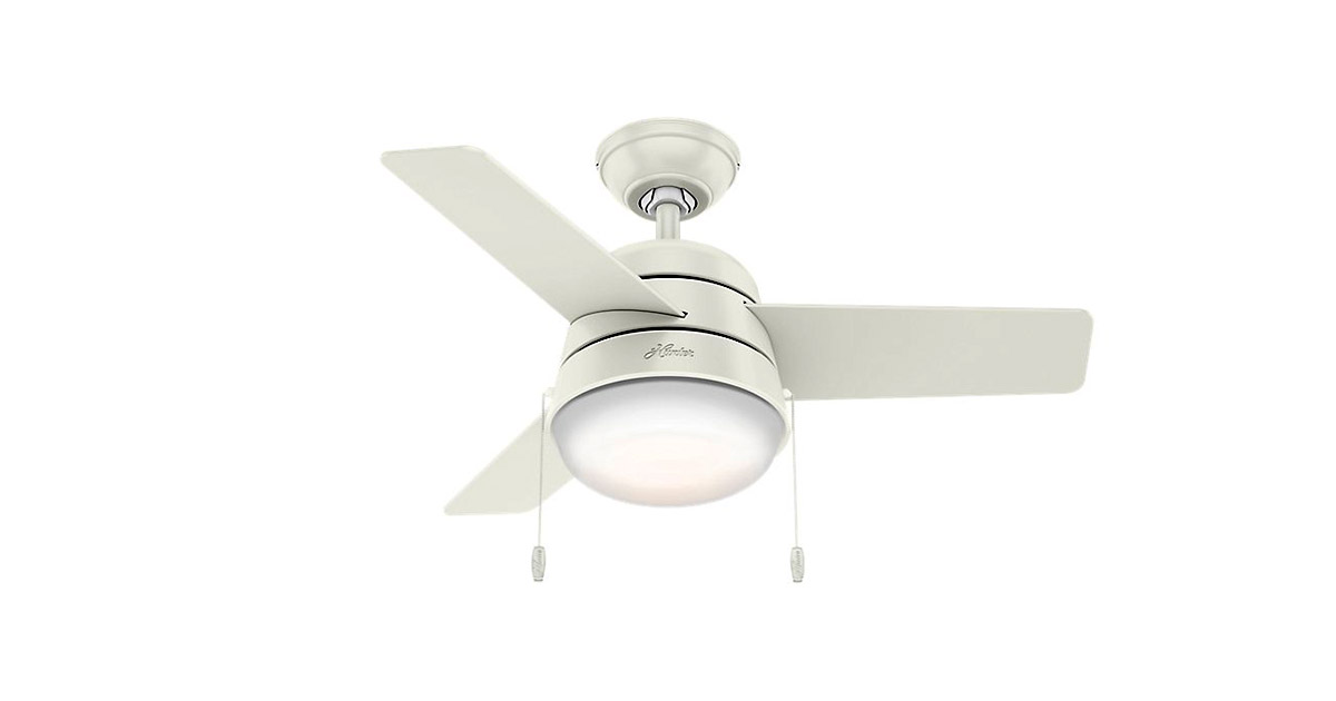 Hunter 59301 Indoor White Aker 36 inch pull chain control Ceiling Fan image