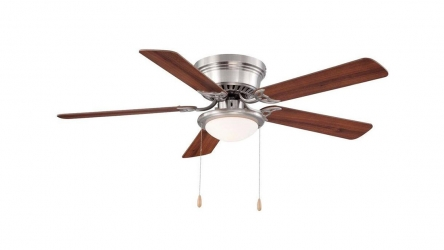 Hugger 52 in Brushed Nickel Ceiling Fan | Perfect choice for low ceilings!